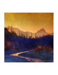 Marmont Hill Sunset Saguaros Stream Painting Print On Wrapped Canvas Yellow