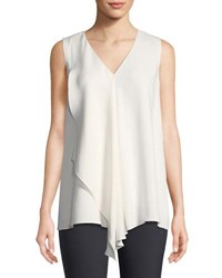 Lafayette 148 New York Cooper Drape Front Silk Blouse Cloud
