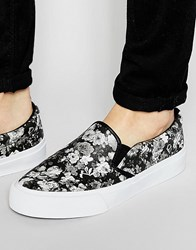 Asos Slip On Plimsolls In Floral Print Black