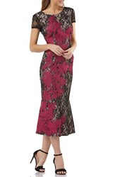 Js Collections Soutache Embroidered Lace Dress Black Magenta