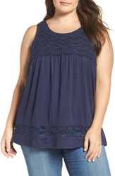 Caslonr Plus Size Women's Caslon 'Boho' Lace Trim Cotton And Modal Tank Navy Peacoat