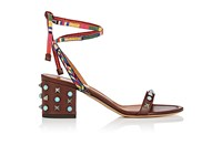 Valentino Women's Rockstud Rolling Leather Ankle Tie Sandals Dark Brown Tan