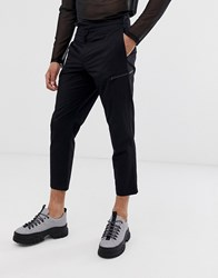Mennace Cropped Trousers With Zip Detail In Black