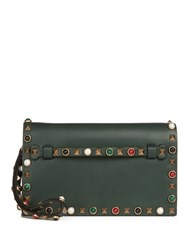 Valentino Rockstud Rolling Small Leather Clutch Green