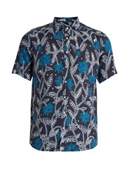 Etro Floral Print Short Sleeved Linen Shirt Navy Multi