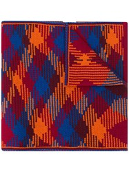 Missoni Checked Pattern Scarf Red