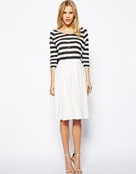 Asos Midi Skirt In Ponte With Bold Pleats Cream