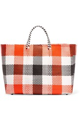 Truss Plaid Woven Raffia Effect Tote Orange
