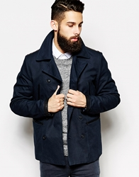 Asos Trench Coat With Military Detail Navy