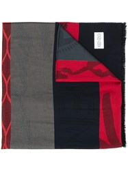 Kenzo Panelled Tiger Motif Scarf Red