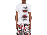 Comme Des Garcons Men's Lips Print Cotton T Shirt White