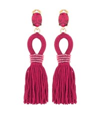 Oscar De La Renta Embellished Tassel Clip On Earrings Red