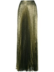 Saint Laurent Long Pleated Skirt Metallic