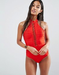 Missguided Bandage Halter Swimsuit Red