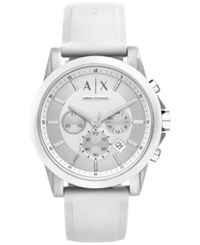 Ax Armani Exchange Unisex Chronograph White Silicone Strap Watch 44Mm Ax1325