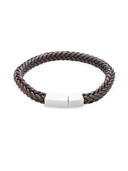 Lotus Braided Leather Bracelet Brown
