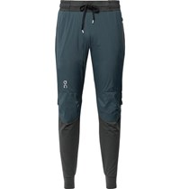 On Slim Fit Tapered Stretch Jersey And Ripstop Trousers Teal