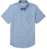 Outerknown Printed Cotton Chambray Shirt Blue