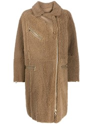 Yves Salomon Curly Merinillo Shearling Coat Neutrals