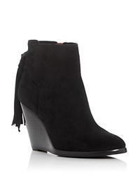 Frye Cece Tassel Lace Wedge Booties Black