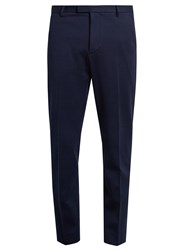Gucci Bee Button Tailored Cotton Jersey Trousers Navy