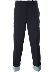 Neil Barrett Cropped Tailored Trousers Blue