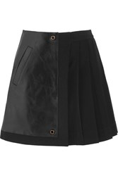 Versace Leather And Pleated Stretch Crepe Mini Skirt Black