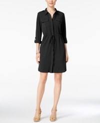 Ny Collection Petite Roll Tab Utility Shirtdress Black