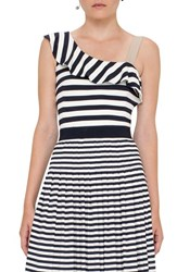 Akris Punto Women's Stripe Ruffle One Shoulder Top