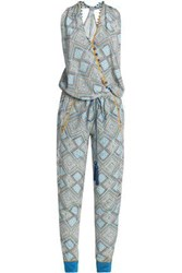 Talitha Wrap Effect Embellished Printed Silk Jumpsuit White