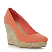 Linea Atria Espadrille Wedge Court Shoe Coral