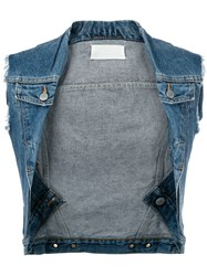 Maison Margiela Vintage Twisted Denim Vest Blue