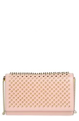 Christian Louboutin 'Paloma' Spiked Calfskin Clutch Pink Mystic Pink Gold