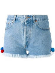 Forte Couture Frayed Hem Shorts Women Cotton Polyester 26 Blue