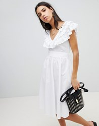 Lost Ink Fit And Flare Dress In Broderie Anglaise White