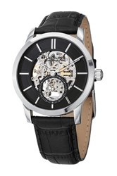 Stuhrling Men's Delphi 924 Mechanical Alligator Embossed Genuine Leather Watch Metallic