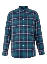 Topman Teal Check Casual Shirt Blue