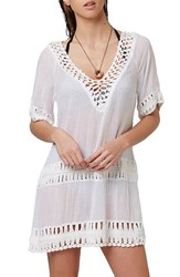 Women's Topshop Crochet Inset Cover Up Caftan