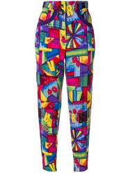Versace Vintage Patchwork Print Cropped Trousers Multicolour