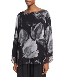 Eskandar Double Layer Printed Chiffon Top Black