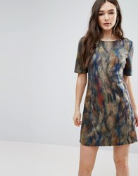 Lavand Smudge Print Skater Dress Unique Multi