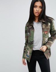 Asos Camo Shirt With Sequins And Badges Multi