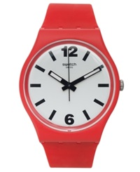 Swatch Unisex Swiss Red Pass Red Silicone Strap Watch 34Mm Gr162