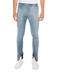 Balmain Denim Moto Jogger Pants Light Blue