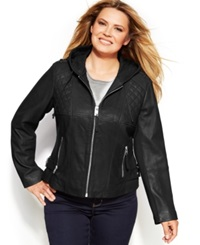 Michael Michael Kors Plus Size Knit Inset Hooded Leather Jacket