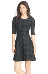 Donna Morgan Jacquard Knit Fit And Flare Dress Evergreen Black