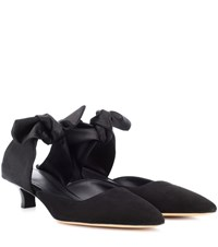 The Row Coco Suede And Satin Mules Black
