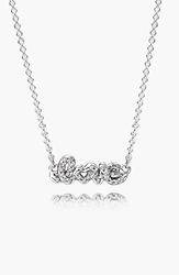 Pandora Design 'Signature Of Love' Pendant Necklace Sterling Silver Clear