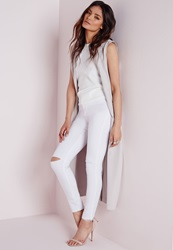 Missguided High Waist Ripped Knee Skinny Jeans White White