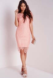 Missguided Lace Short Sleeve Bodycon Dress Pink Pink